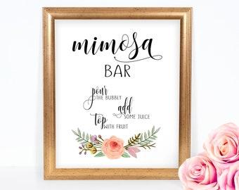 Bridal shower mimosa bar sign - Printable bubbly bar sign - Shower mimosa bar - Rustic chic bridal shower - soft11