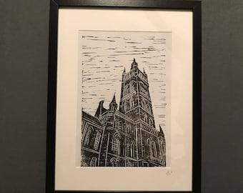 University of Glasgow Handmade Linocut Print
