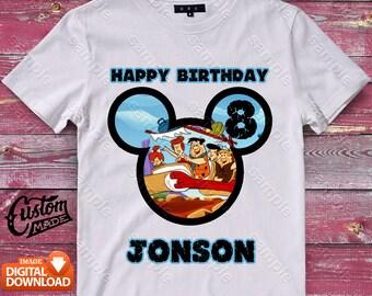 The Flintstones Mickey Head Iron On Transfer, The Flintstones Mickey Head Birthday Shirt, The Flintstones Mickey Head Shirt Design, Digital