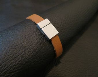 Handcrafted Leather Magnetic Bracelet, Caramel Brown