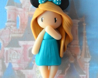 Baby Minnie dress blue, golden hair - Disney Collection - jewelry polymer clay handmade