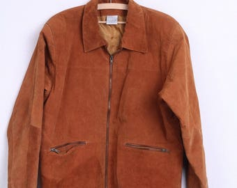 Classic Woman Jacket 16 XL Leather Camel Suede Vintage