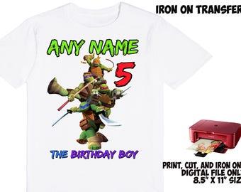 Tmnt Personalized Name and Age - Tmnt DIY Printable Iron On Transfer - Tmnt Printable Birthday Shirt Party Transfer DIY