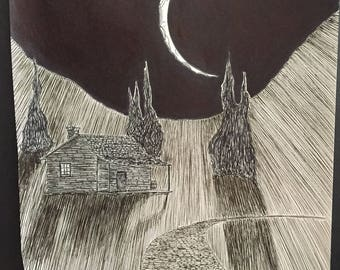 Original Pen and Ink Cabin and Moon Illustration