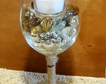 Wine glass votive candle holder