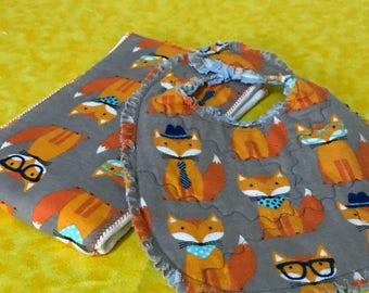 Fox Bib and Burp Cloth set