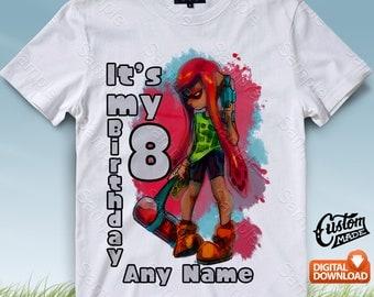 Splatoon Iron On Transfer, Splatoon Birthday Shirt DIY, Splatoon Shirt Designs, Splatoon Printable, Splatoon, Personalize, Digital Files