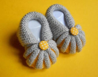 In the Dordogne Pumpkins by hand knitted baby booties - grey and yellow