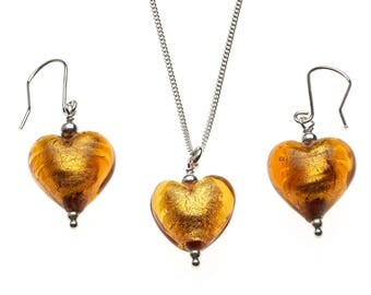 Amber glass Murano earrings and necklace