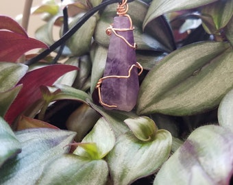 Amethyst wired wrapped necklace