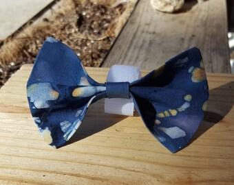 Small Dog Cat Bow Tie Accessory - Dark Blue Tie Dye Pattern