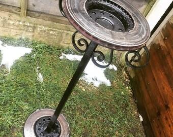 Bird Bath Feeder Stand Steel Garden Ornament Patio Decor