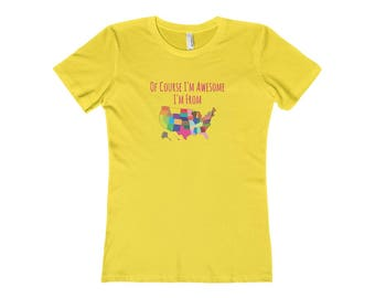 Funny Cute Gift For Her Usa Map National Pride Awesome Tee T-Shirt