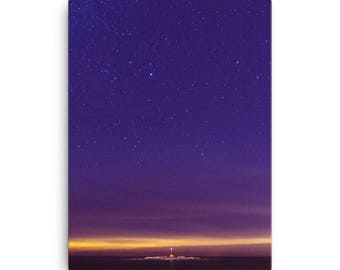 Lighthouse Under The Stars - High Quality Canvas Print
