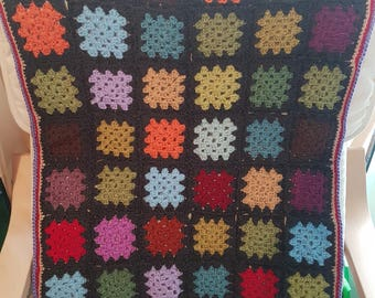Stained glass granny square blanket
