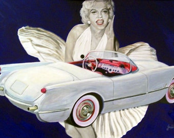 Marilin Monroe with white 1953 corvette.