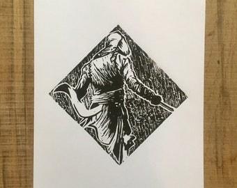 Assassins Creed Ezio Warrior Lino Print. Homemade Art A4 Comic Game