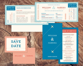 Boarding Pass Wedding Stationery - Digital Download