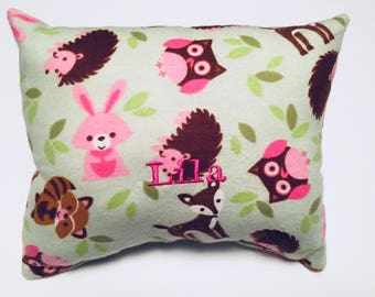 Pillow, bunnies, fox, deer, Toddler, Infant, Travel, Decor baby Pillow, Personalized, Grandma's House, Monogram, Embroidery, Birthday Gift,