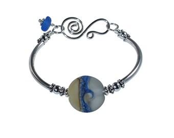 Boho Bracelet, Sterling Silver, Gifts, Beach Jewelry, Sea Glass Jewelry, Wave Bracelet, Mermaid Jewelry, Blue Bangle, Gift for Her