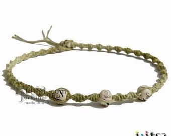 Olive rainbow twisted hemp necklace white bone beads hemp choker