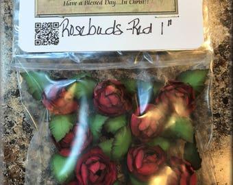 """Handmade Paper Rosebuds Red 1"""""""