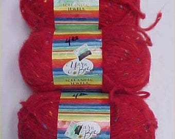 ICELANDIC JEWELS Ruby #16 Yarn Bee Lot 3 Skeins Discontinued Knit Crochet