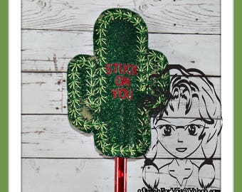 CACTUS Stuck on You ~ Pencil Topper & WaND ~ In the Hoop ~ Downloadable DiGiTaL Machine Embroidery Design by Carrie