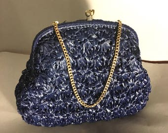 """NAVY 60s Woven Straw Vintage Purse, 1960's  CLUTCH or Handbag, Made in Japan, by """"It's in the Bag"""""""