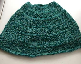 Star-stitch Cowl, Blue-Green 100% Wool