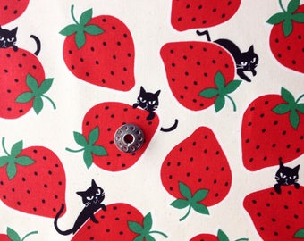 REMNANT Cats and Strawberries Japanese Fabric