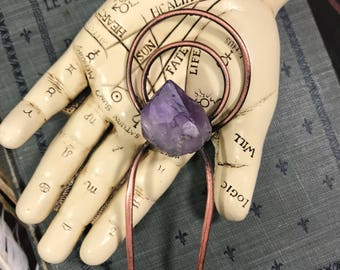 Goddess Gemstone Double Halo Amethyst Crystal Recycled Electroformed Copper Hair Fork | Raw Stone Hair Accessory | OOAK Gift For Her