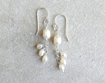 White Pearl and sterling silver delicate drop earrings