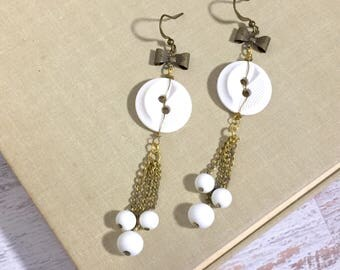 Beaded Tassel Assemblage Long Dangle Earrings with White Vintage Buttons and Bows