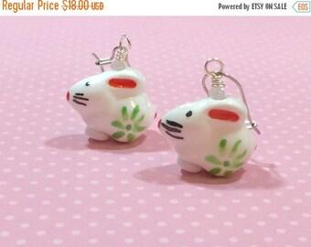 SALE Painted Porcelain Bunny Earrings, Kawaii Rabbit Earrings, Easter Earrings, Spring Jewelry, Cute Bunny Dangle Earrings, KreatedbyKelly (