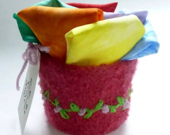 Play silks fairy silks felted bowl set Waldorf inspired Rainbow