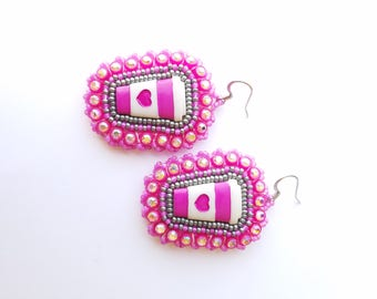 Coffee Cup Beaded Earrings
