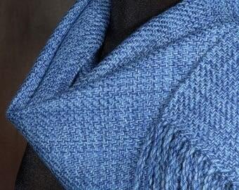 Blue scarf / handwoven scarf / merino wool scarf / winter scarf / electric blue / royal blue