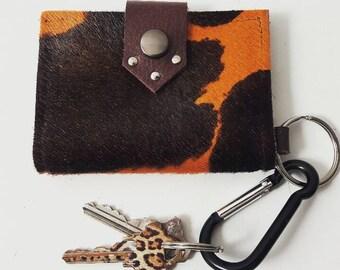 Orange & Black Hair on Hide Keychain Wallet