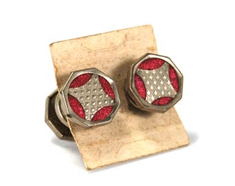 Antique Art Deco Snap Cufflinks Double Sided Silver Toned Dark Fuchsia Pink Cuff Links Circa 1920