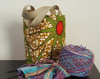 Green Burst Knitting / Tote Bag
