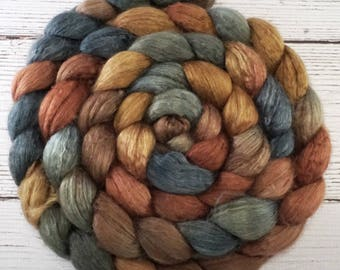 Handpainted Baby Camel Silk Roving - 4 oz. OUTLAW - Spinning Fiber