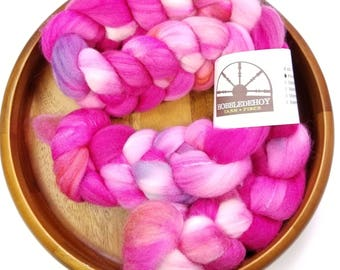 Ballet Slippers - hand-dyed Polwarth wool and silk (4 oz.) combed top roving