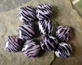 Set 9 Glass Beads Pink and Purple Swirls, 16mm Glass Beads, Clearance Sale, Willow Glass