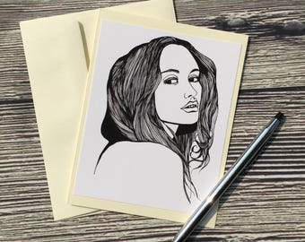 Wistful - Portrait Ink Drawing Art Print - Ivory Note Card