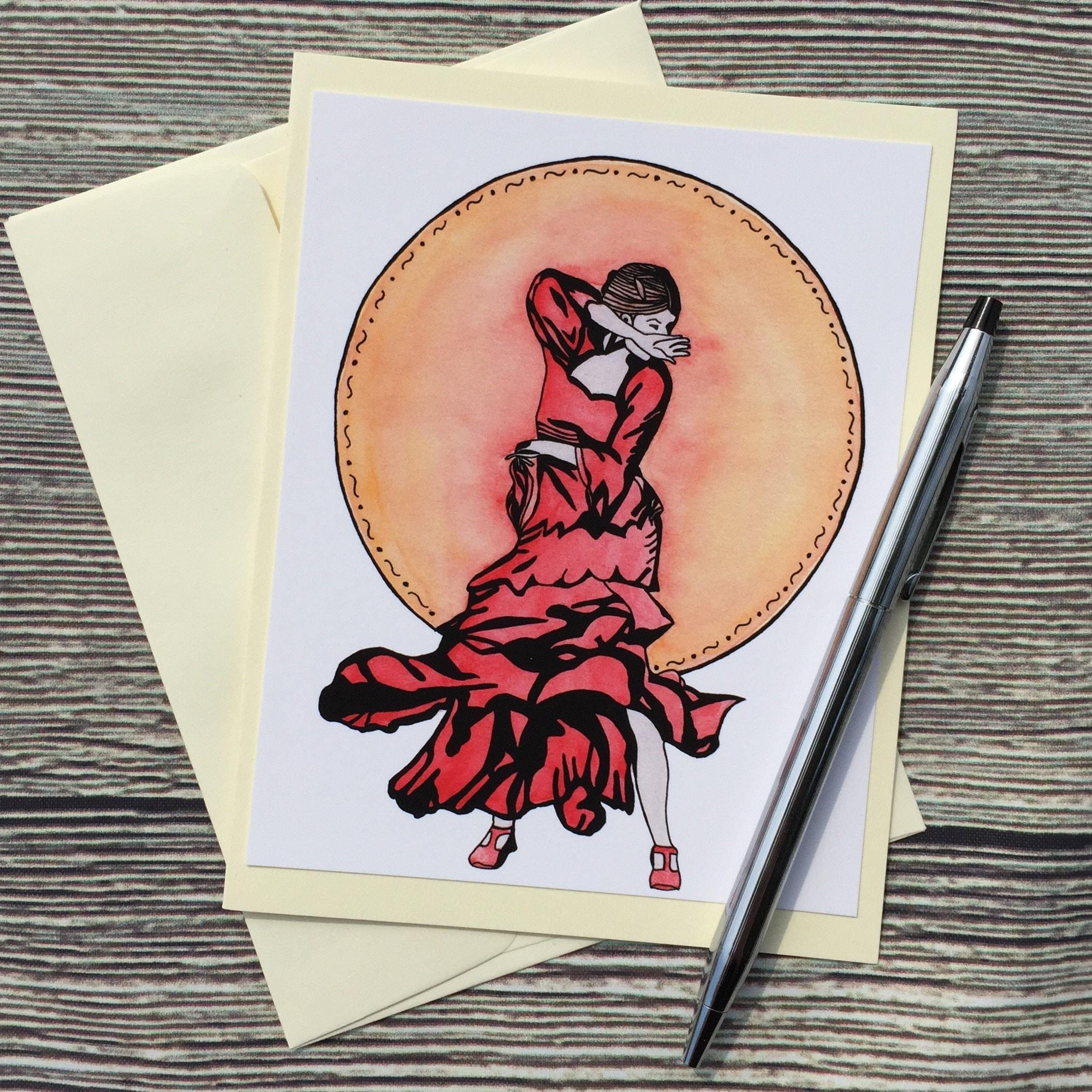 flamenco original watercolor print ivory note card