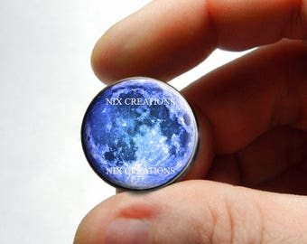 Glass Cabochon - Blue Full Moon - for Jewelry and Pendant Making