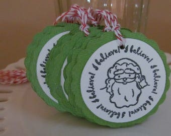 "Santa ""I believe"" tags - green - set of 10 - perfect for gift tags, holiday parties, classroom treats, etc.!"