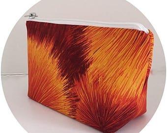 FINAL MARKDOWN makeup bag, orange, cosmetics bag, zipper bag, zipper pouch, fireworks, purse organizer, gift for women,