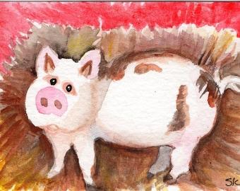 Original ACEO Mini Pig Watercolor Painting, Rustic animal watercolor